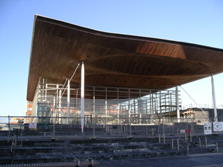 Senedd front with awning above